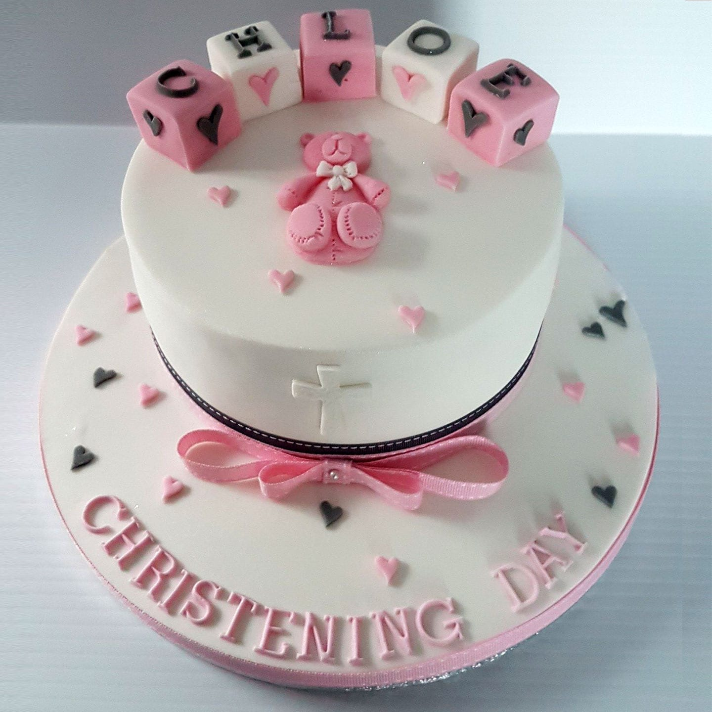 Christening Cake for baby Girl Design with Teddy Bear and Building Blocks
