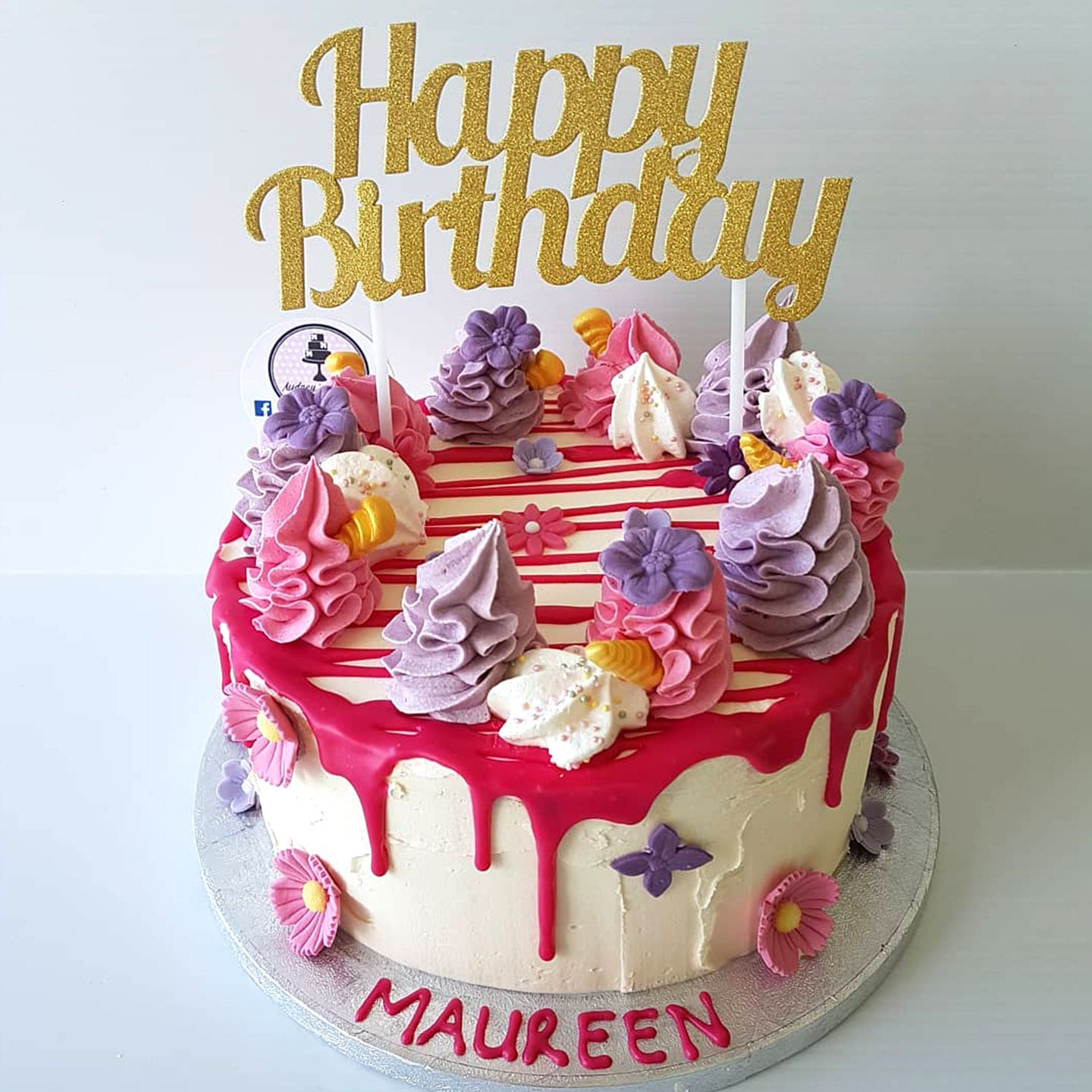 Floral Frosting Happy Birthday Cake personalised pink with flowers